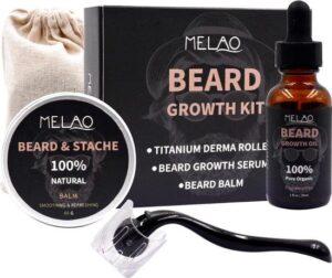 Melao Baardgroei serum set - Derma roller + baardgroei olie + baard balsem - de ultieme baardverzorging