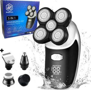 5-in-1 Scheerapparaat Voor Mannen - Draadloos - 5 Scheerkoppen - Droog & nat scheren - Tondeuse - Neus en oor trimmer - Gezichtsborstel
