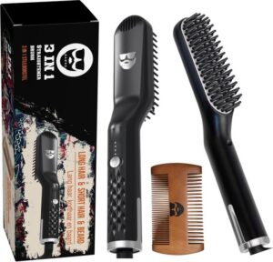 BAØRD® 2 in 1 Elektrische Baardborstel Stijlborstel Inclusief Baardkam - haarborstel - baardverzorging - grooming - cadeau tip voor mannen- zilver zwart