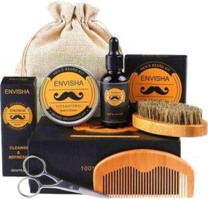 Envisha® Baard Verzorging Set – Baardolie – Baardkam – Baardgroei – Cadeau Man Verjaardag - Met Ebook