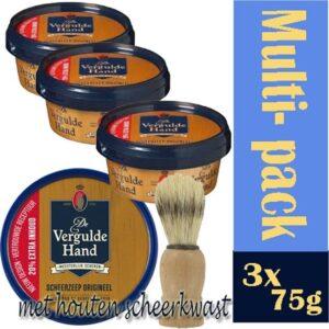 3st -Vergulde hand scheerzeep met een houten kwast