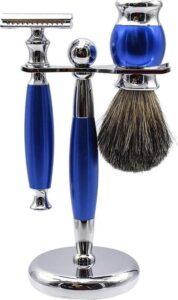 7Style Collection Scheerset Mannen Luxe met Scheerkwast Double Edge Safety Razor en Houder voor Hem - RVS - Cadeau - Blauw