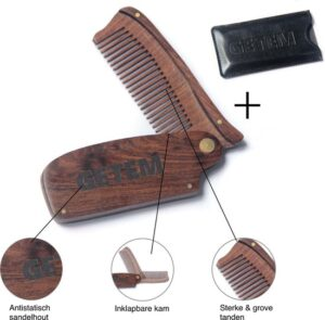Baardkam opvouwbaar - Baardverzorging - Sandelhout - Baardkam hout - Cadeau voor hem - Baardolie en baardbalsem verdelen - Inclusief lederen beschermhoes