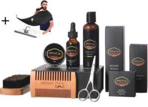 Baardverzorging Set 8-delig - Gift Set- Baard Schort - Baard olie - Baard balsem - borstel - Baard shampoo - Dubbele kam - Schaar - Doos - Cadeau voor hem