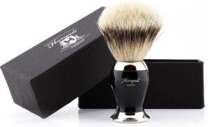 Haryali London Super Zilver Tip Fijn Haar Scheerkwast (Shaving Borstel) In Zwart & Metaal Kleur Handvat