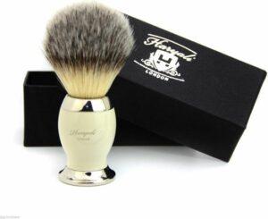 Haryali London Synthetisch Haar Scheerkwast (Shaving Borstel) Ivoor en zilveren handvat met Mooi Cadeau Doos