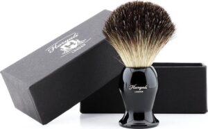 Haryali London Zwart Fijn Haar Scheerkwast (Shaving Borstel) In Zwart Kleur Handvat. Cadeau voor Hem