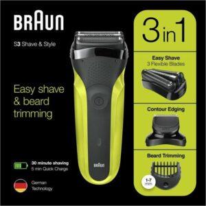 Braun Series 3 300BT Zwart-Groen - Elektrisch Scheerapparaat Shave&Style