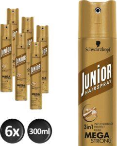 Schwarzkopf Junior Mega Strong Haarspray 300 ml - 6 stuks - Voordeelverpakking
