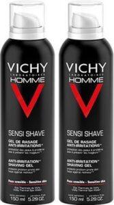 Vichy Homme Scheergel - 2x150 ml - Anti-irritatie - Voordeelpack