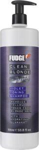 Fudge Clean Blonde zilvershampoo met pomp - 1000 ml