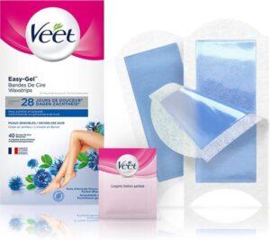 Veet Easy-Gel Wax Ontharingsstrips - Benen & Lichaam - Gevoelige Huid - 40 stuks